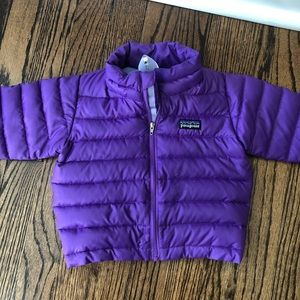 Patagonia baby down sweater size 6 months purple